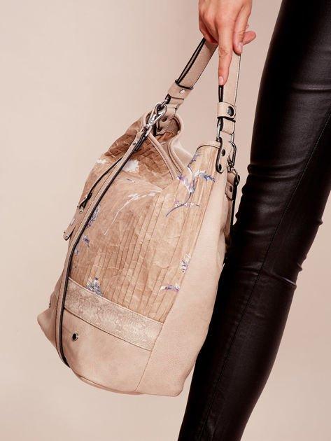 Beżowa torba z łączonych materiałów w stylu japońskim                              zdj.                              3