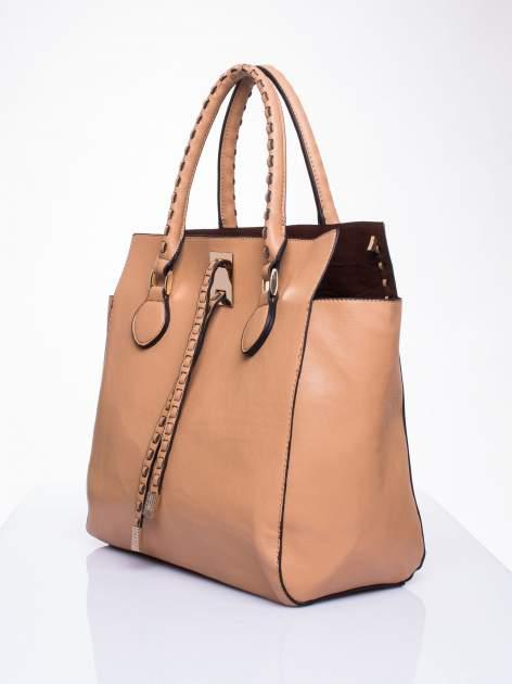 Beżowa torba z ozdobnymi skórzanymi troczkami                                  zdj.                                  3