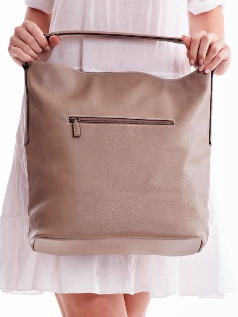 Beżowa torba z płócienną wstawką                               zdj.                              4