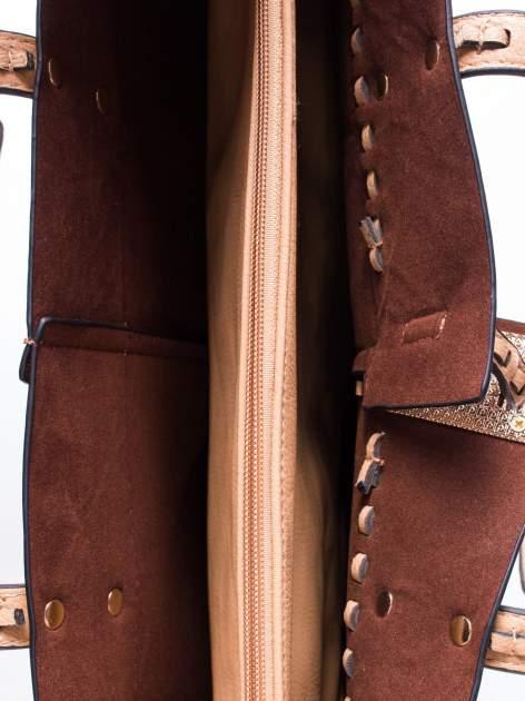 Beżowa torba z przeplatanym paskiem                                  zdj.                                  4