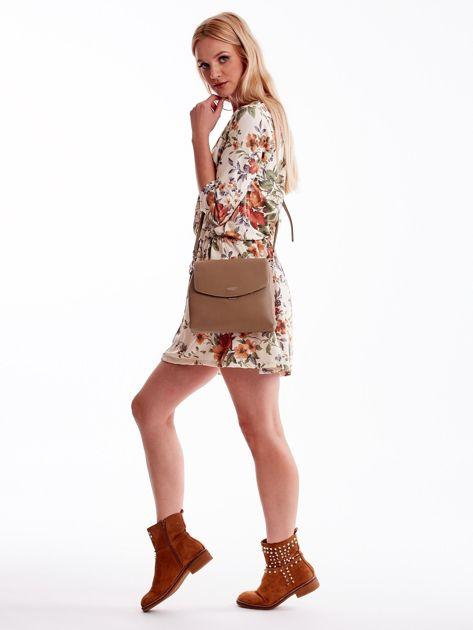 Beżowa torebka damska z klapką                              zdj.                              1