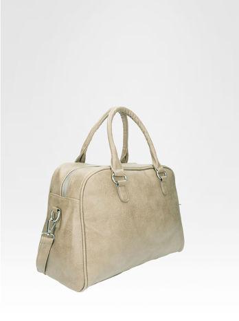 Beżowa torebka typu miękki kuferek z dodatkowym paskiem                                  zdj.                                  2