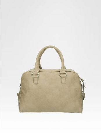 Beżowa torebka typu miękki kuferek z dodatkowym paskiem                                  zdj.                                  4