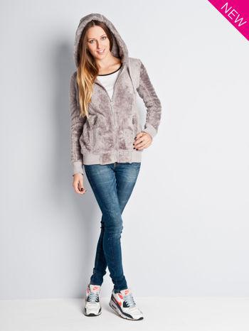 Beżowa włochata bluza z kapturem i suwakami                                  zdj.                                  3