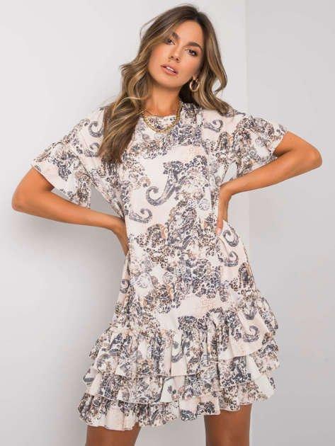 Beżowa wzorzysta sukienka z falbankami Audrina RUE PARIS