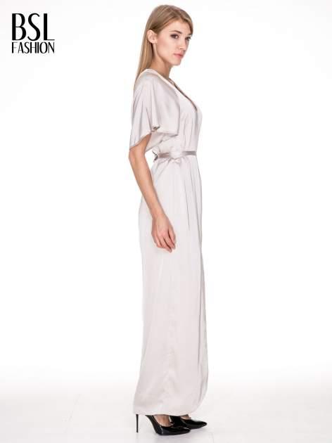 Beżowa zwiewna sukienka maxi z satyny                                  zdj.                                  3