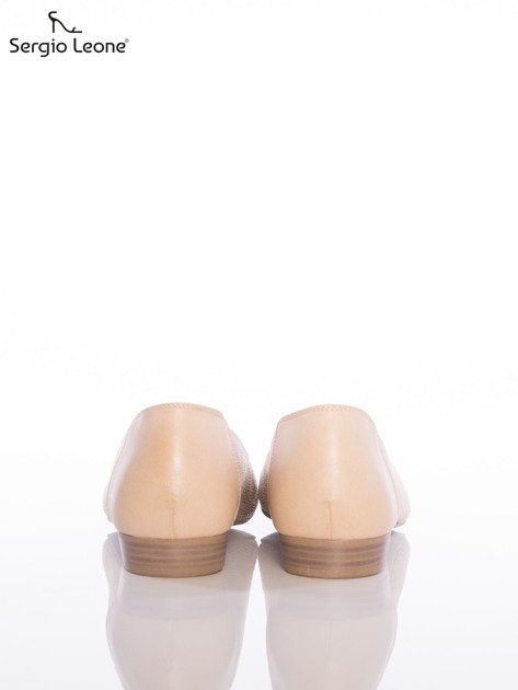 Beżowe baleriny Sergio Leone z efektem glitter                                  zdj.                                  3