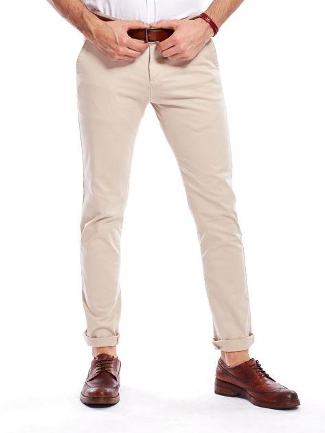 Beżowe bawełniane spodnie męskie chinosy                               zdj.                              1
