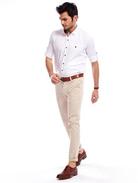 Beżowe bawełniane spodnie męskie chinosy                               zdj.                              4