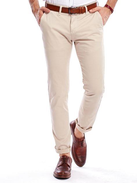 Beżowe bawełniane spodnie męskie chinosy                               zdj.                              6