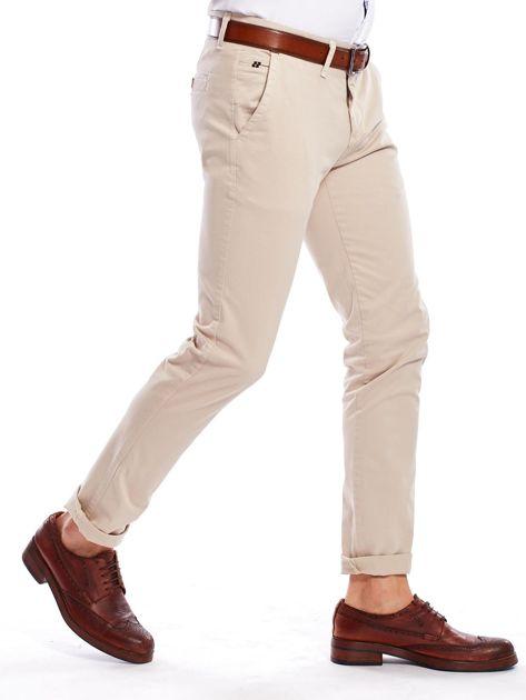 Beżowe bawełniane spodnie męskie chinosy                                   zdj.                                  3