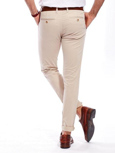 Beżowe bawełniane spodnie męskie chinosy                               zdj.                              2