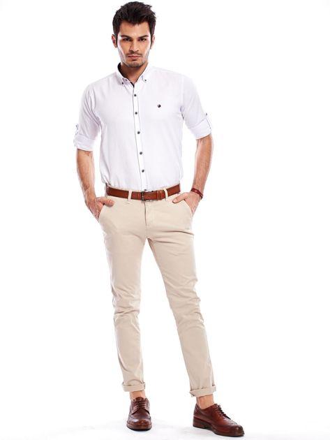 Beżowe bawełniane spodnie męskie chinosy                               zdj.                              9