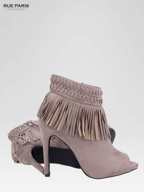 Beżowe botki faux suede Suzie open toe z frędzlami w stylu boho                                  zdj.                                  4