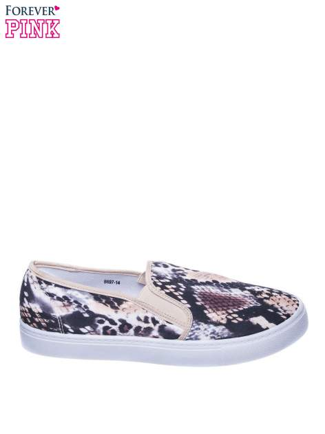 Beżowe buty slip on we wzór animal print