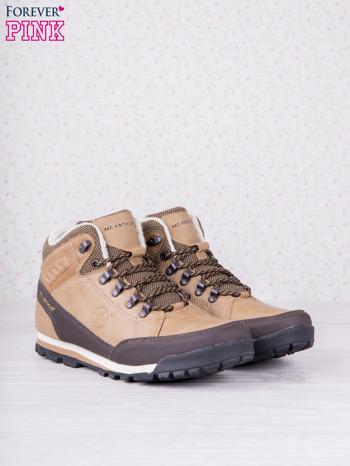 Beżowe buty sportowe eco leather Trip z brązowymi skórzanymi wstawkami                                  zdj.                                  2