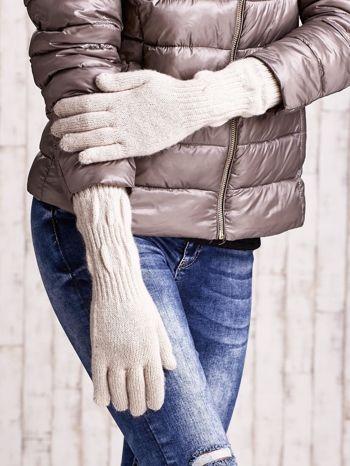 Beżowe długie rękawiczki z przeszywanym ściągaczem                                  zdj.                                  3