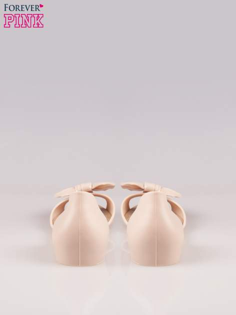 Beżowe gumowe baleriny peep toe z kokardą                                  zdj.                                  3
