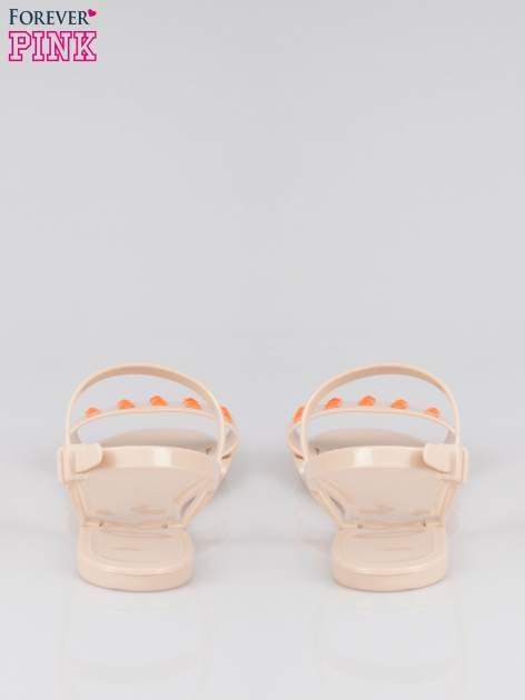 Beżowe gumowe sandały meliski Julissa z dżetami                                  zdj.                                  3
