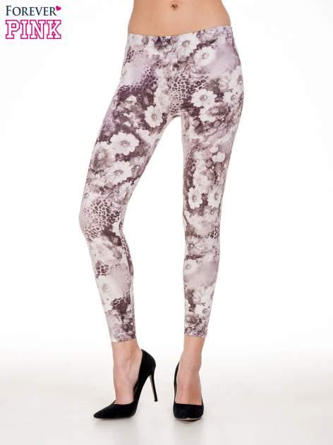 Beżowe legginsy w kwiaty                                  zdj.                                  1