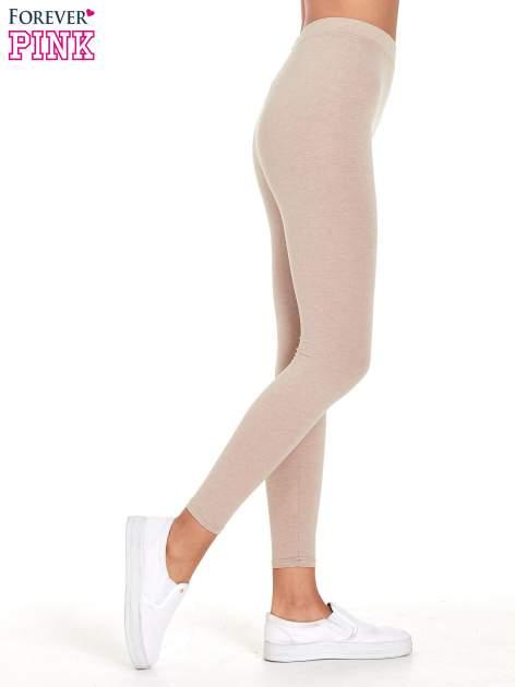 Beżowe melanżowe legginsy damskie basic                                  zdj.                                  3