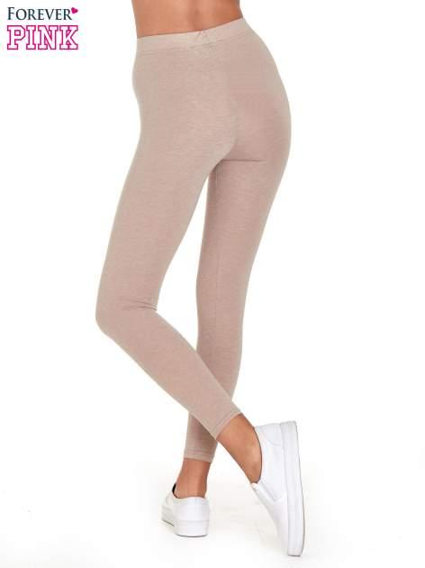 Beżowe melanżowe legginsy damskie basic                                  zdj.                                  7