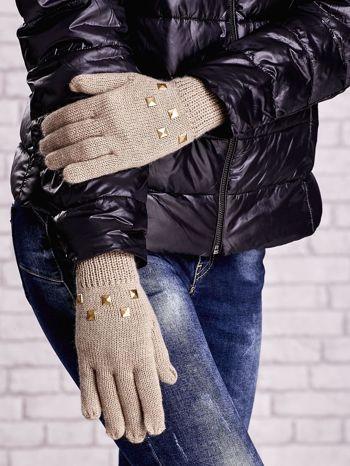 Beżowe rękawiczki z ćwiekami i ściągaczem                                  zdj.                                  2