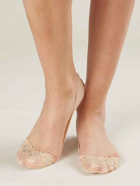 Beżowe skarpetki balerinki