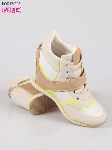 Beżowe sneakersy damskie w stylu casual                                  zdj.                                  4