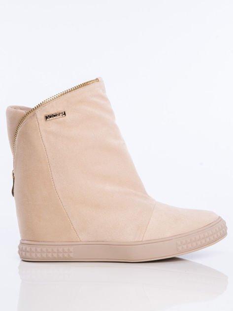 Beżowe sneakersy z ozdobnym suwakiem dookoła cholewki                              zdj.                              1