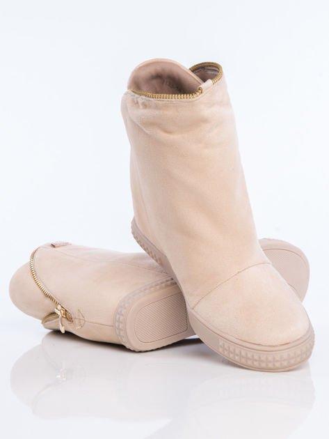 Beżowe sneakersy z ozdobnym suwakiem dookoła cholewki                              zdj.                              4