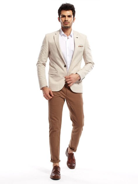 Beżowe spodnie męskie chinos                                  zdj.                                  6