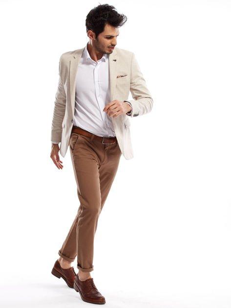Beżowe spodnie męskie chinos                                  zdj.                                  8