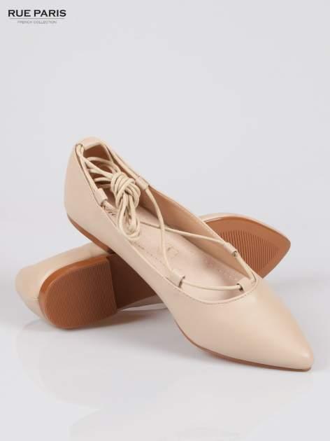 Beżowe wiązane baleriny leather Kylie lace up                                  zdj.                                  4