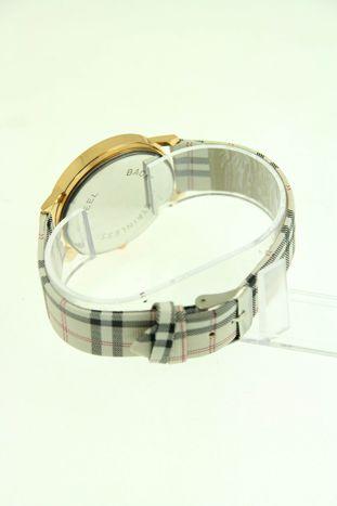 Beżowo-biały zegarek damski na pasiastym pasku                                  zdj.                                  2