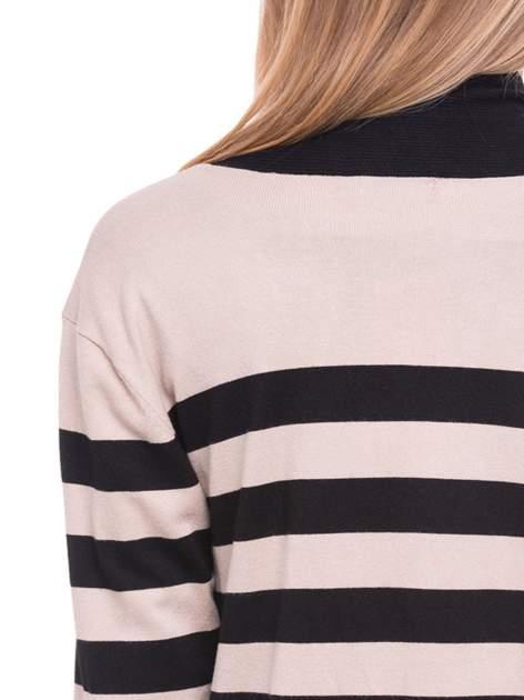 Beżowo-czarny pasiasty otwarty sweter kardigan z prążkowanym kołnierzem                                  zdj.                                  7