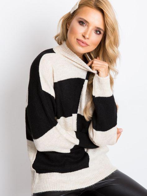 Beżowo-czarny sweter Francesca                              zdj.                              1