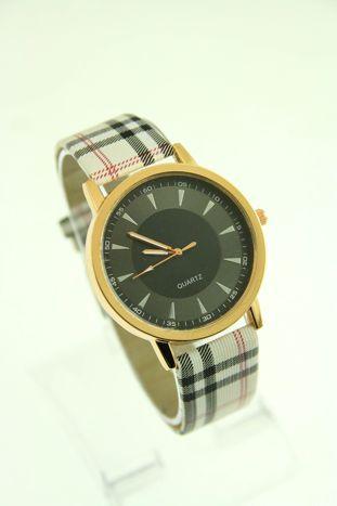 Beżowo-czarny zegarek damski na pasiastym pasku