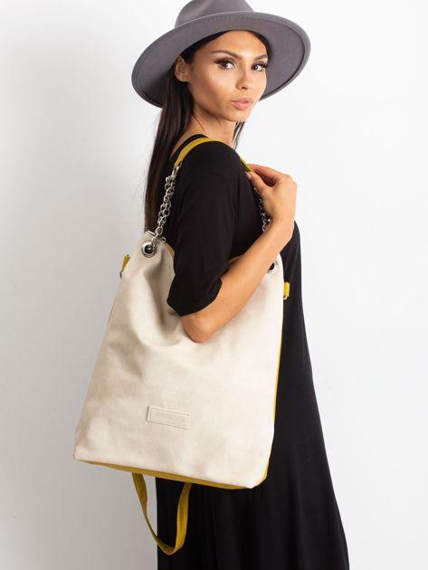 Beżowo-oliwkowa torba z ekoskóry                              zdj.                              1
