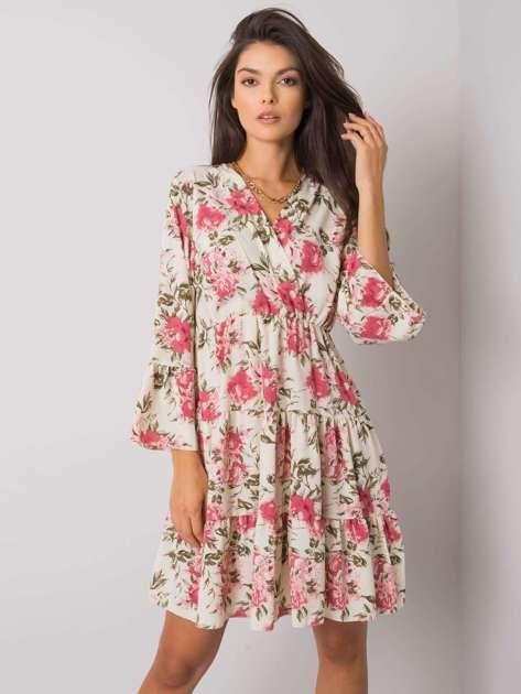 Beżowo-różowa sukienka w kwiaty Leighton