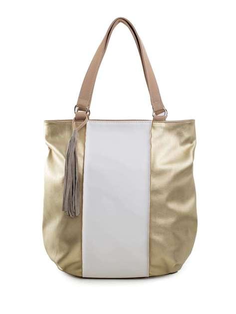 Beżowo-złota torba na ramię