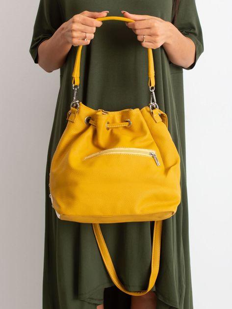 Beżowo-żółta torba ze ściągaczem                              zdj.                              2