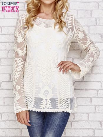 Beżowy ażurowy sweterek mgiełka