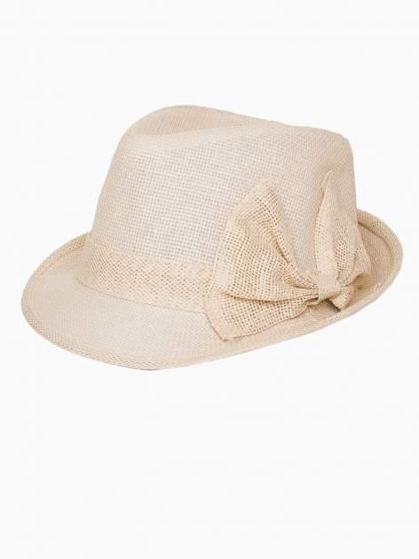Beżowy kapelusz fedora z ażurową kokardą                                  zdj.                                  4