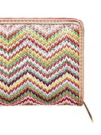 Beżowy pleciony portfel w geometryczne wzory                                  zdj.                                  5