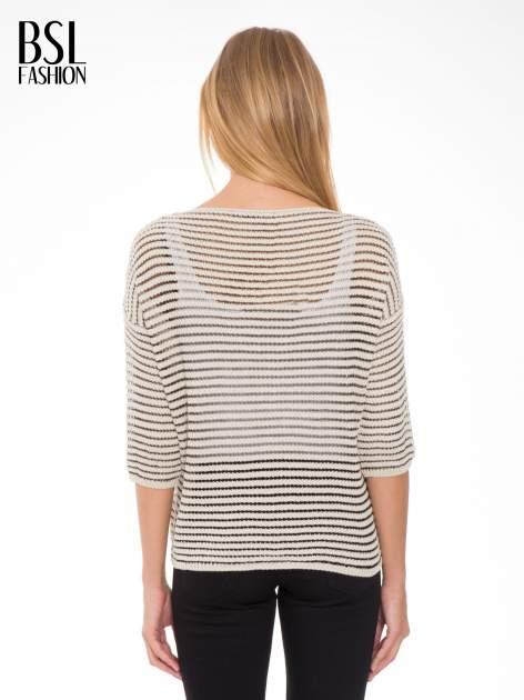 Beżowy półtransparentny sweter w prążki                                  zdj.                                  4