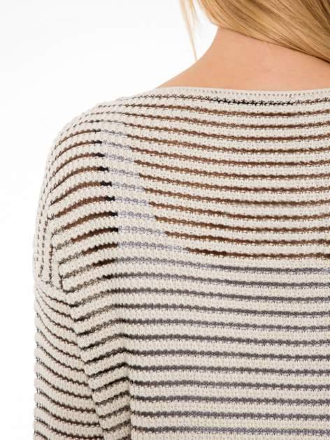 Beżowy półtransparentny sweter w prążki                                  zdj.                                  7