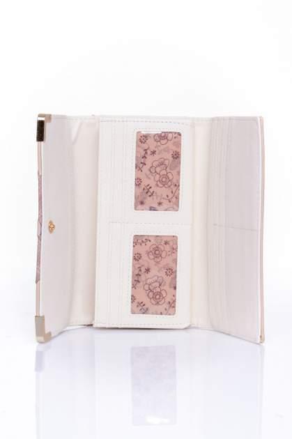 Beżowy portfel z ozdobnym detalem i złotymi okuciami                                  zdj.                                  4