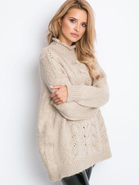 Beżowy sweter plus size Bridge                              zdj.                              10