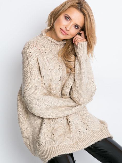 Beżowy sweter plus size Bridge                              zdj.                              7